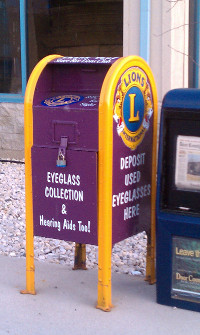 lions mailbox eyeglass and hearing aid image